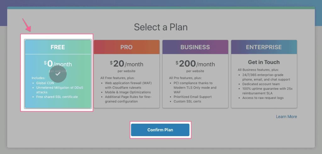 Chọn gói free Cloudflare