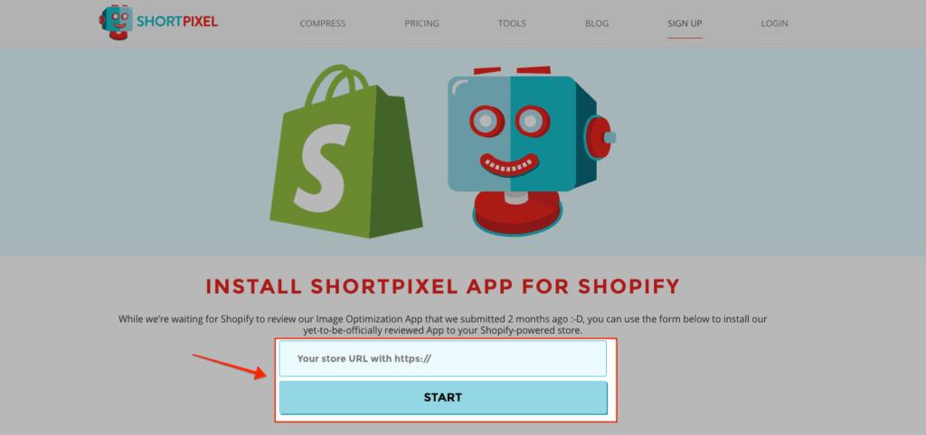 Shortpixel Installation Shopify