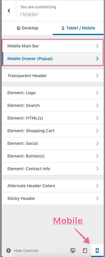 Mobile Site Header