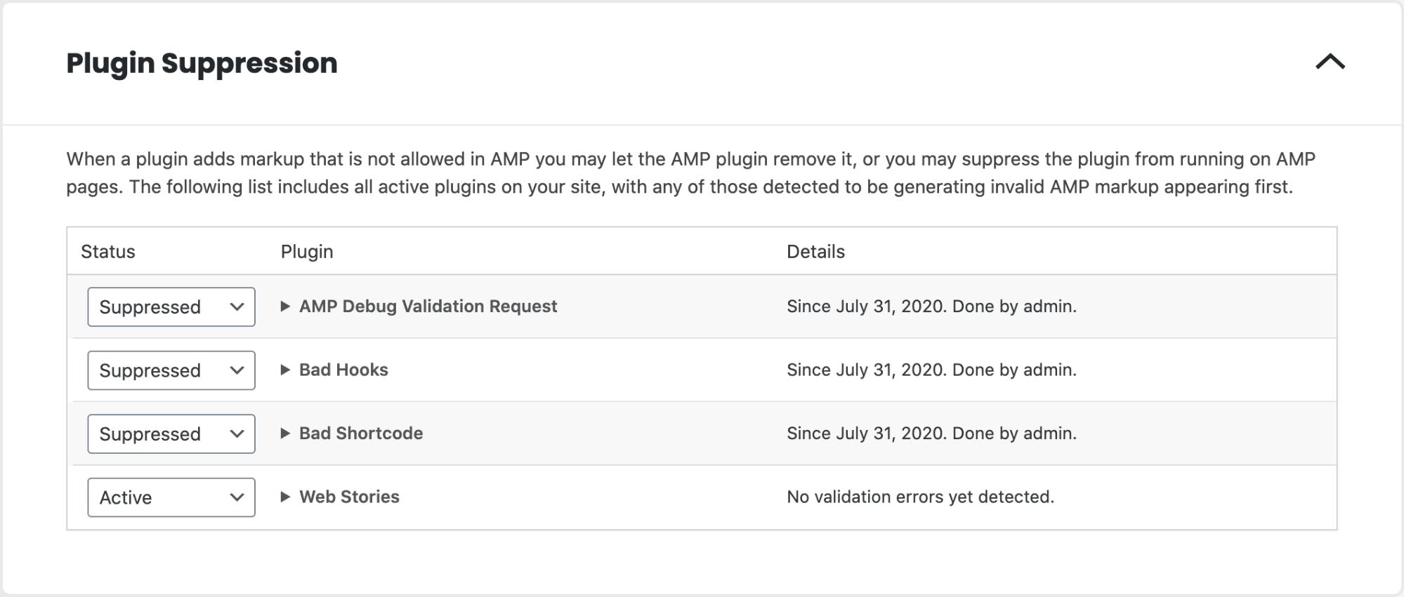 Amp Plugin Suppression